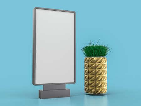 Digital media blank white screen mockup on blue background. 3D illustration