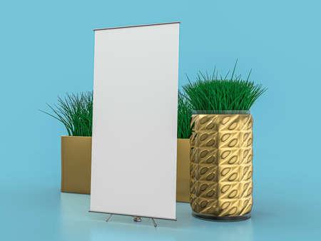 Roll up banner stand. Mockup on blue background. 3D illustration. 版權商用圖片