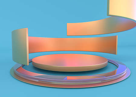 Abstract composition with podium. Futuristic blue interior. 3D illustration