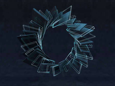 Futuristic shape. Computer generated abstract background. 3D