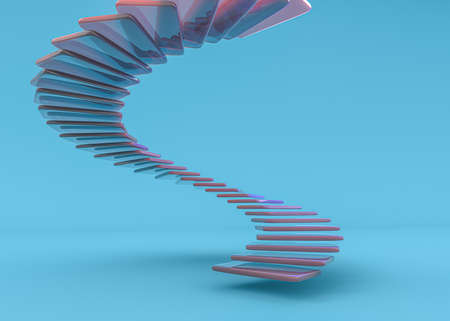 Glass spiral staircase, abstract architecture wallpaper. 3D illustration