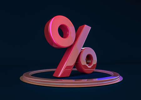 Seasonal sales dark background with percent discount pattern. 3D illustration