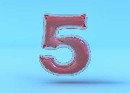 Number 5. Digital sign. Transparent balloon font. 3D illustration Standard-Bild