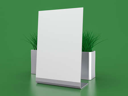 Blank paper Table Tent. Mockup on green background. 3D illustration. Stock Photo