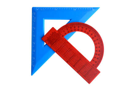 Plastik: protractor red and blue square on a white background