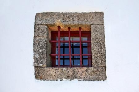 claustrophobia: grid with window Stock Photo