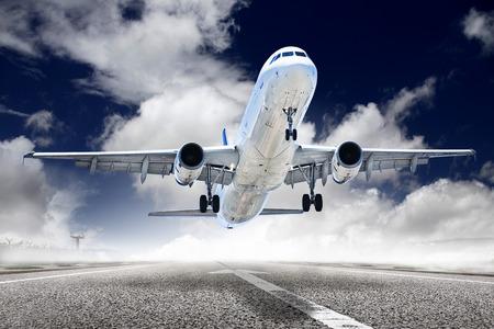 turbina de avion: avión despegue Foto de archivo