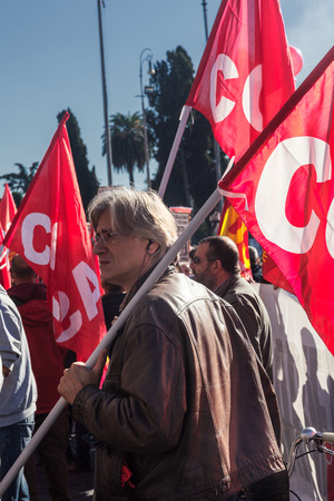 Rome, Italy - November 14, 2014: Protest of students and teachers against the government and the economic measures in Italy.