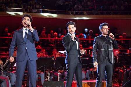 Rome Italy 6 May 2015: The band quotThe Flightquot Ignazio Boschetto and Gianluca Ginoble Piero Barone sings in the concert music of the Band of the State Police.
