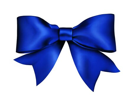airbrush: Blue ribbon knotted bow. Airbrush illustration handmade.