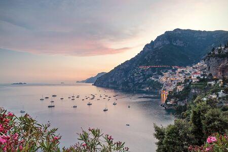 positano: Sunset in Positano and the Amalfi Coast, Italy.