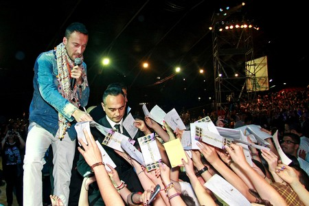 Rome, Italy - April 27, 2012: Francesco Facchinetti, said Dj Francis, signing autographs at the concert That the State Police dedicates each year to young people. Editorial