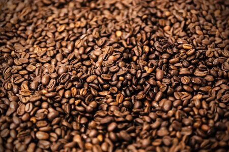 milled: Black coffee roasted beans, coffee beans ready to be milled. Stock Photo