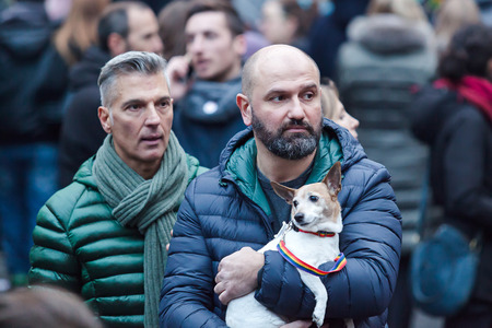 civil rights: Rome, Italy - 23 January 2016: Svegliatitalia, demonstration in Piazza della Rotonda in favor of the civil rights of homosexual couples. In the scene some protesters videotaped during their participation.
