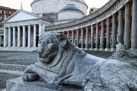 plebiscite: Marble lion in Piazza del Plebiscito in Naples. In the background the colonnade that surrounds half the square and the San Francesco di Paola.