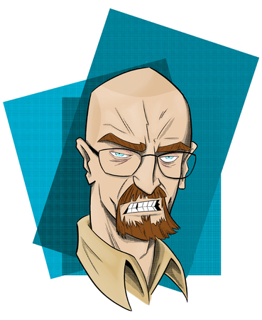Comic caricature of the famous actor and film director Bryan Cranston. It is known primarily for playing the role of Walter White, star of the award-winning television series Breaking Bad, and the comedy series Malcolm. color design.