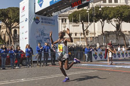 majors: Rome, Italy - April 10, 2016: Amos Kipruto crosses the finish line in first place and won the mens race of Rome Marathon 2016.
