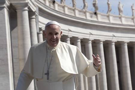 st  francis: Rome, Italy - April 30, 2016: Pope Francis on board for ships of the Pope-mobile runs through St. Peters Square waving to the crowd around him on the occasion of the day dedicated to the jubilee of the military family and police.