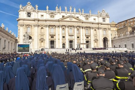 deployed: Rome, Italy - April 30, 2016: Representatives of all police forces deployed in St. Peters Square, on the occasion of the Jubilee of the armed forces.