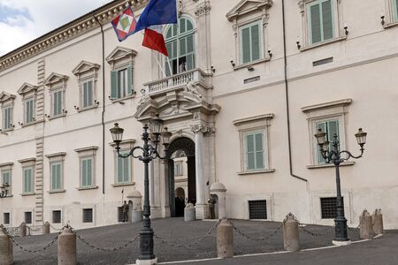 guarded: Rome, Italy - May 19, 2016: Piazza del Quirinale, the main entrance to the Quirinal Palace, the institutional headquarters and residence of the President of the Republic.