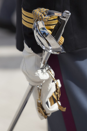 deployed: Rome, Italy - May 25, 2016: Official police deployed in full uniform during the celebrations for the 164th anniversary of the State Police.