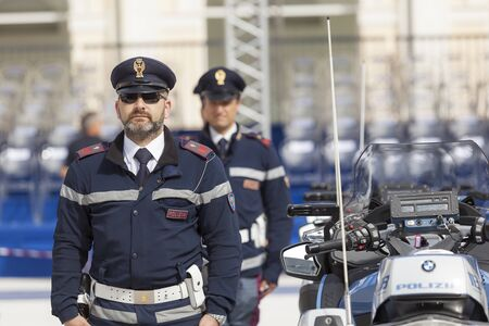 deployed: Rome, Italy - May 25, 2016: Men of traffic police deployed during the celebrations for the 164th anniversary of the State Police.
