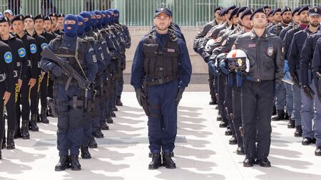 flak: Rome, Italy - May 25, 2016: Special departments of the Italian police, deployed during the celebrations for the 164th anniversary of the State Police.