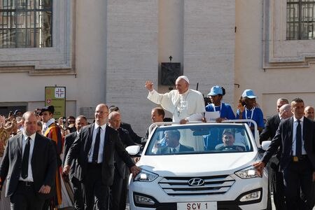 Mother Teresa: Vatican, Italy - September 3, 2016: Pope Francis on the new pope mobile, waving to the crowd of faithful gathered in St. Peters Square, for the sanctification of Mother Teresa of Calcutta. Editorial