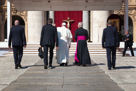 francis: Rome, Italy - September 3, 2016: Pope Francis, climbs the steps which lead to the churchyard, where it will be read the homily for the sanctification of Mother Teresa of Calcutta. Editorial