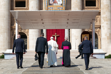 Mother Teresa: Rome, Italy - September 3, 2016: Pope Francis, climbs the steps which lead to the churchyard, where it will be read the homily for the sanctification of Mother Teresa of Calcutta. Editorial