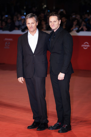 11th: Rome, Italy - October 17, 2016: Viggo Mortensen and director Matt Ross walk a red carpet for Captain Fantastic During The 11th Rome Film Festival at Auditorium Parco Della Musica. Editorial