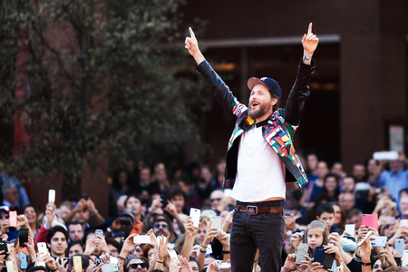 film festival: Rome, Italy - October 16, 2016. The Italian singer Jovanotti with his fans on the red carpet of the 11th International Film Festival of Rome. Editorial