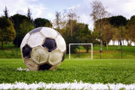 strictly: soccer ball, worn, green grass of the football field. In the background the goal.