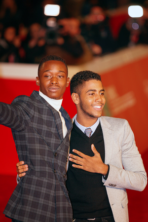 Rome, Italy - October 13, 2016. Red Carpet of the film Moonlight with actor Jharrel Jerome (R) and Ashton Sanders.