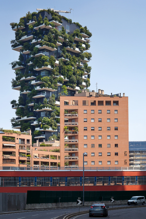 Milan, Italy - June 11, 2017: The famous Vertical Wood seen from Viale Luigi Sturzo. Sustainable residential building model, consisting of two residential towers of 110 and 76 m high, built in the center of Milan at the confines of the Isola district.