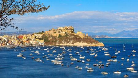 Sullo sfondo il promontorio di Punta Monaci con la Chiesa di Santa Margherita Nuova, il castello e l'ex carcere. A sinistra la marina di Corricella. Archivio Fotografico - 86560441