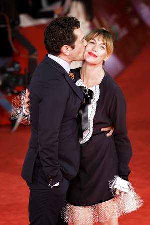 ROME, ITALY - NOVEMBER 04: Vinicio Marchioni and Milena Mancini walk on a red carpet for The Place during the 12th Rome Film Festival at the Auditorium Parco Della Musica on November 4, 2017 in Rome, Italy. Editorial