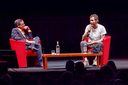Rome, Italy - October 16, 2016. Italian singer Jovanotti (Lorenzo Cherubini) interviewed by Antonio Monda, during the meeting with the public at the 11th Rome International Film Festival. Editorial