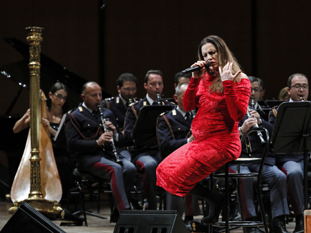 Rome, Italy - 11 December 2017: the singer Annalisa Minetti performs on the stage of the Auditorium Parco della Musica, on the occasion of the concert of the State Police Band, Be there always, with music and words. Editorial
