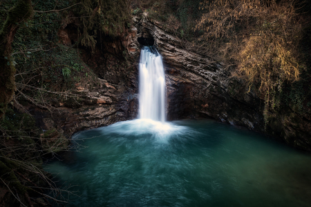 Trevi waterfall, this waterfall is located in the municipality of Trevi nel Lazio in the province of Frosinone. Water falls from above through a hole in the rock. The waterfall feeds the Aniene river forming a natural spectacle of rare beauty.