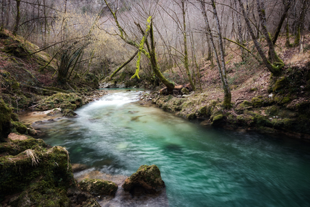 The river Aniene, in the municipality of Trevi nel Lazio, Italy. A natural spectacle of rare beauty.