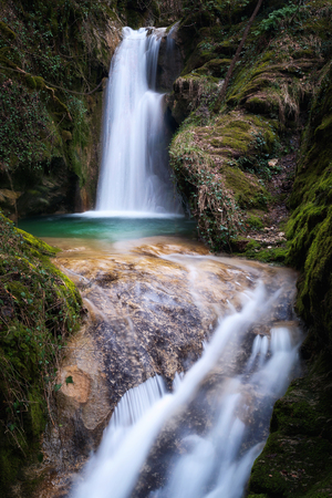 Pozza del Diavolo waterfall, in the municipality of Monte San Giovanni in Sabina, Italy. Waterfall, long exposure. Stock Photo