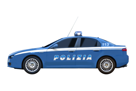 The Alfa Romeo 159 is a sedan produced by the Italian car manufacturer Alfa Romeo from 2005 to 2011. The Alfa 159 is used by several Italian police forces, also supplied to the State Police, and to the traffic police. Illustrative editorial. 新聞圖片