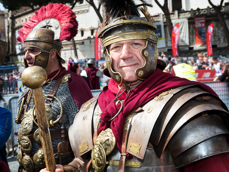 Rome, Italy - April 8, 2018: Gladiators in historical dress and armor at the start of the 24th edition of the Rome Marathon and Run for Fun. Editorial