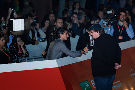 Rome Italy. 20 October 2018. Michael Moore interviewed on the red carpet at the Rome Film Fest 2018.
