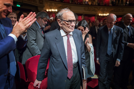 Milan, Italy - Oct 27, 2018: Ennio Morricone is applauded in the hall, during the celebrations for the 90th anniversary of the Italian State Police Band, at the Teatro alla Scala in Milan. Morricone is an Italian composer of music for world-famous cinema,