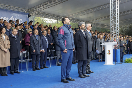 Rome, Italy - April 10, 2019: Interior Minister Matteo Salvini (left) with the president of the Chamber of Deputies Roberto Fico (center) and the police chief Franco Gabrielli, during the celebrations of the 167th anniversary of the State Police, held at