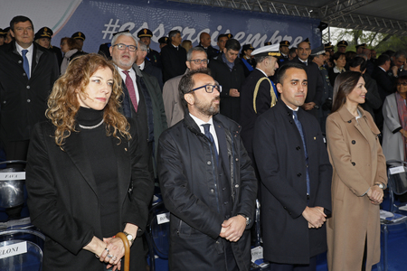 Rome, Italy - 10 April 2019: the stage with political and institutional authorities, during the celebrations of the 167th anniversary of the State Police. From left, Alfonso Bonafede, Luigi di Maio, Mara Carfagna.