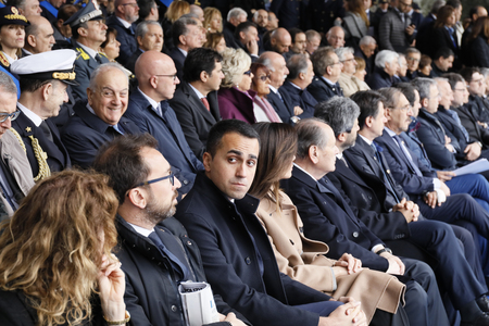 Rome, Italy - 10 April 2019: the stage with political and institutional authorities, during the celebrations of the 167th anniversary of the State Police. At the center, Luigi Di Maio