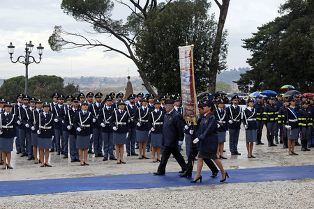 Rome, Italy - 10 April 2019: The parade with the banner and the units deployed, during the celebrations of the 167th anniversary of the State Police, held at the Pincio in Rome.
